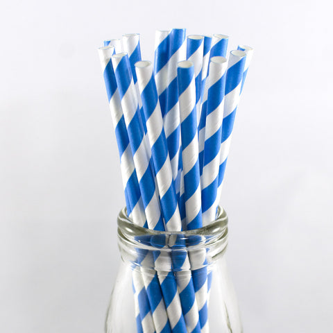 Blue & White Stripe Straws