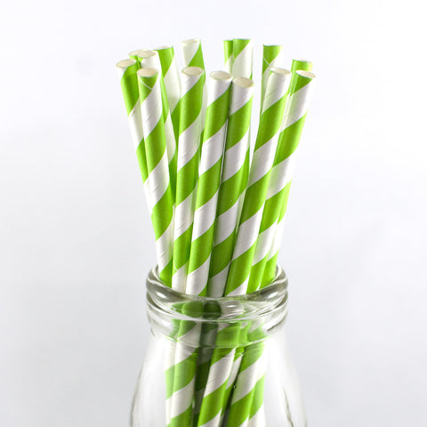 Apple Green & White Stripe Straws
