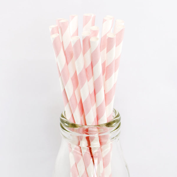 Pale Pink & White Stripe Straws