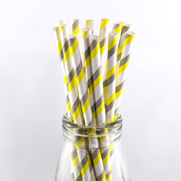 Yellow Grey & White Stripe Straws
