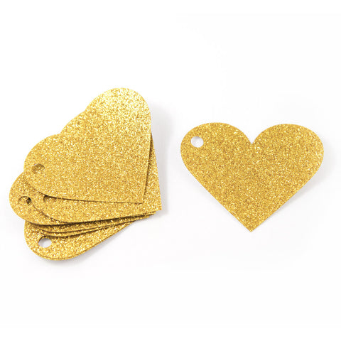Gold Glitter Heart Gift Tags