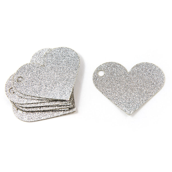 Silver Sparkle Heart Gift Tags