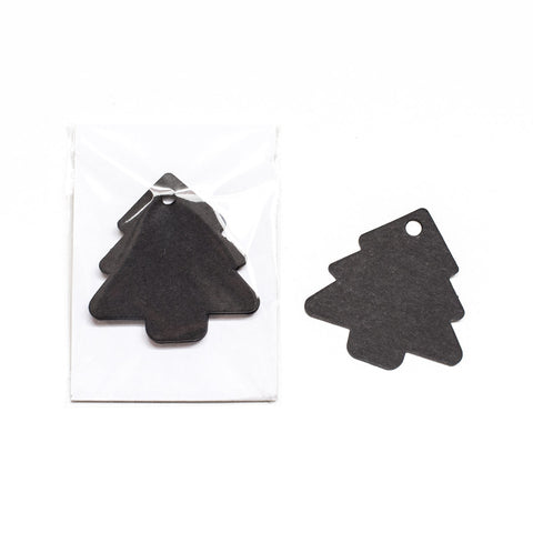 Black Craft Xmas Tree Gift Tags