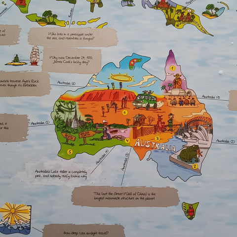 WTFact Map featuring Australia's fun facts