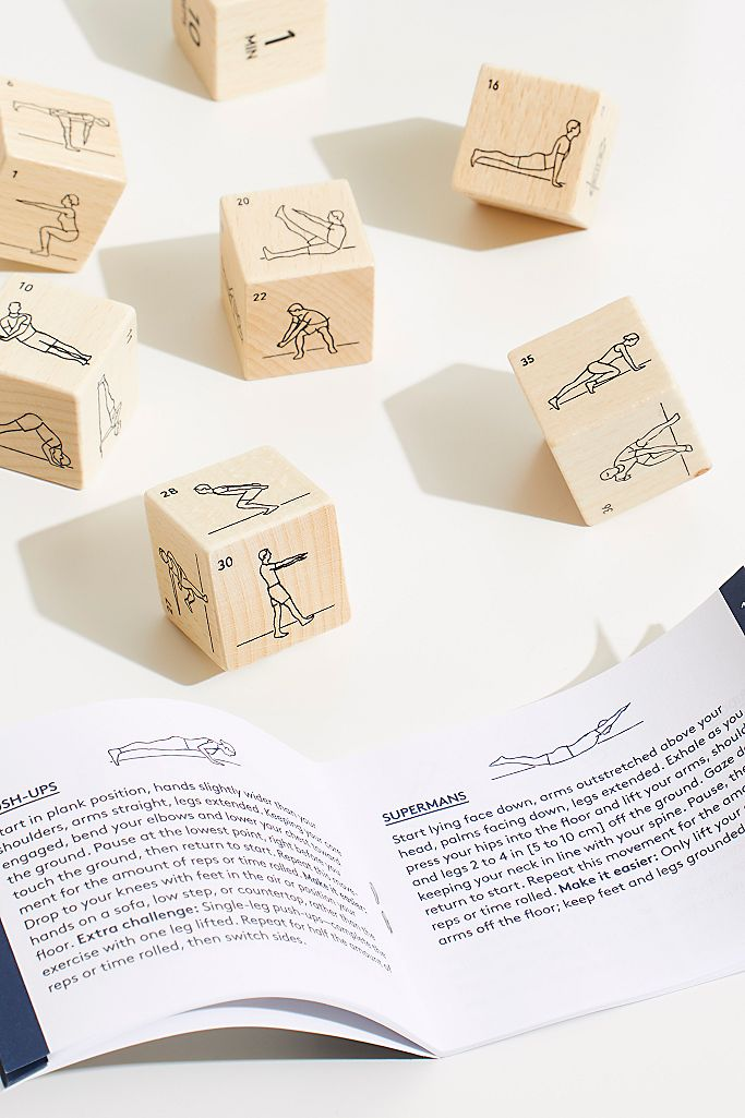 Fitness Dice | Chronicle Books | 7 Wooden Dice, Over 45,000 Workout Routines!