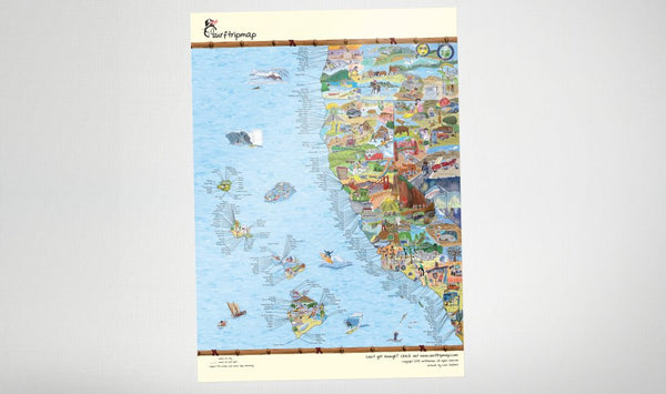 Awesome Map - West Coast Surf Map (matte)