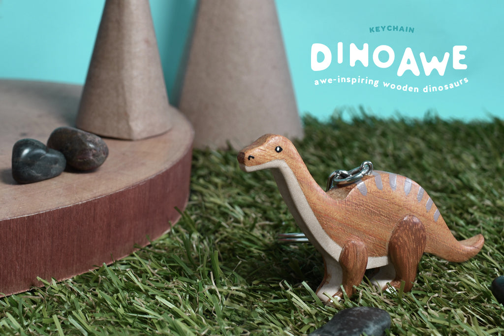 Dinosaur Keychain | Dinoawe | Upcycled Wooden Key Ring