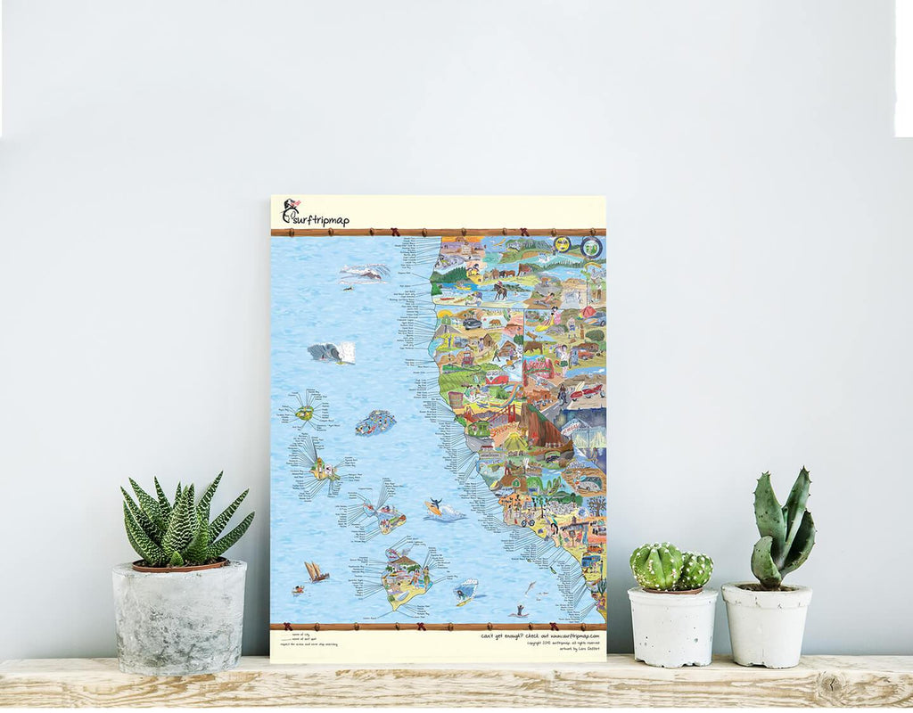 West Coast Surf Map (matte) | Awesome Maps | USA Activities Map