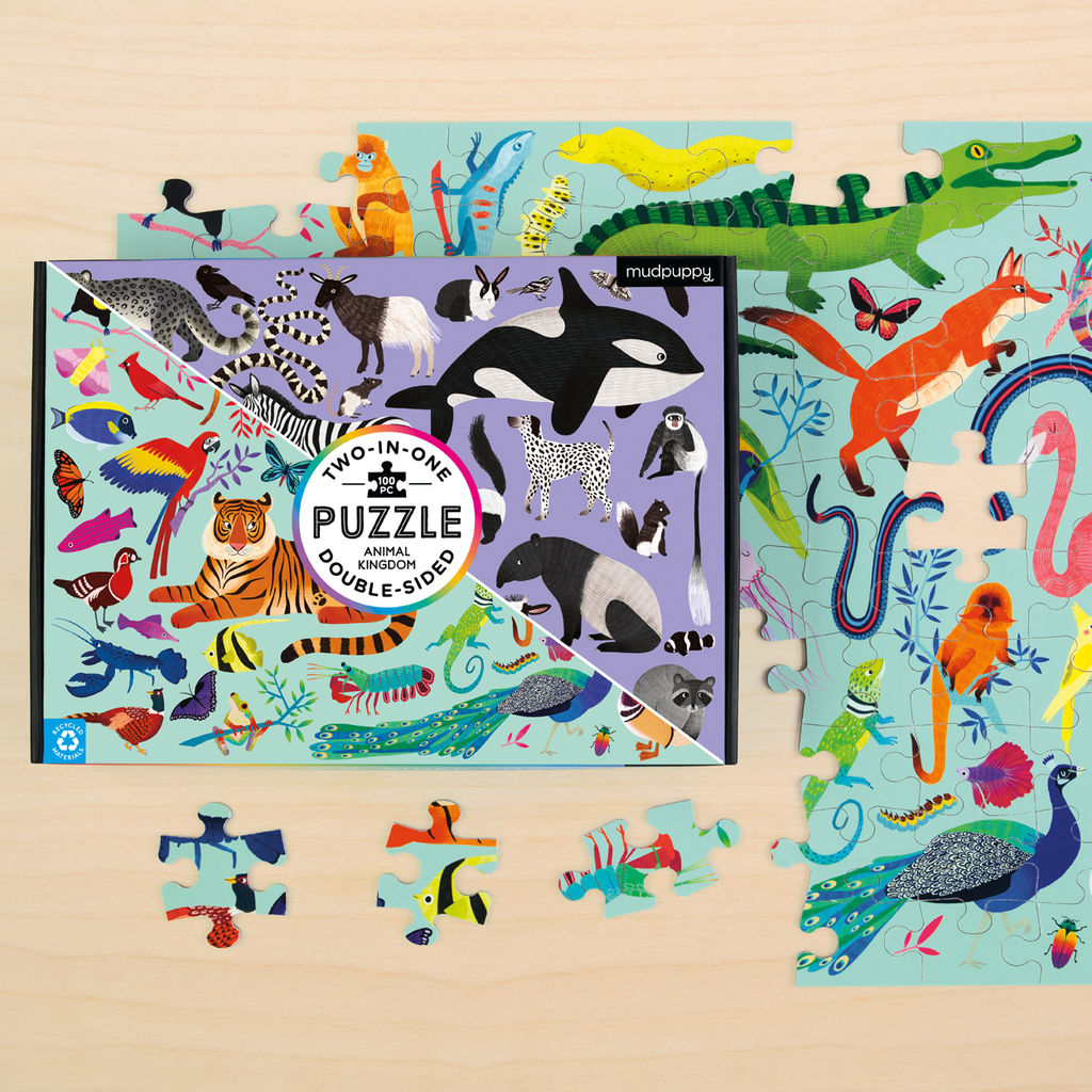 Double Sided Puzzle | Mudpuppy | 100 Piece Jigsaw Puzzle