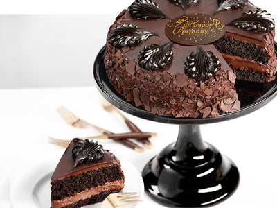 Our best selling chocolate cake with mousse filling and fudge rosettes - the very definition of gourmet!