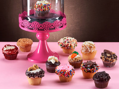Assortment of the most outstanding flavors in gourmet cupcakes.