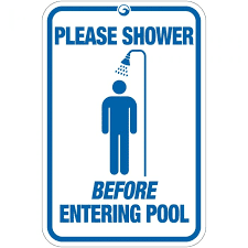 Take a shower before going to the pool