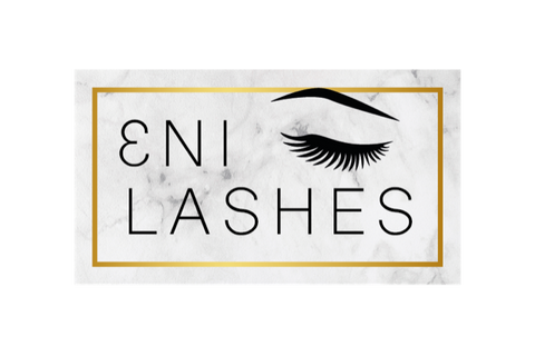 Eni Lashes logo, gold accent with black writing and grey and white background