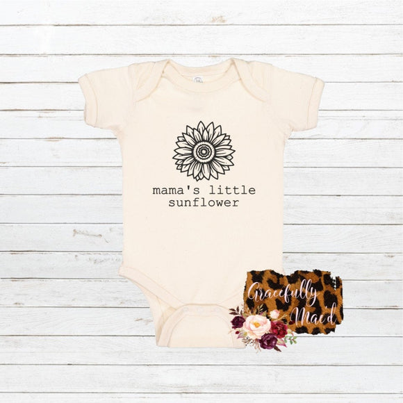 Mama's Little Sunflower - Infant Bodysuit - Baby Clothing - Farmhouse Clothing - Mommy and Me