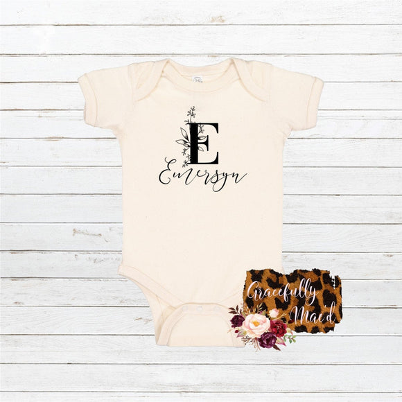 Monogram Floral Bodysuit - Favorite - Personalized Baby Clothing - Farmhouse Apparel - Flower Child