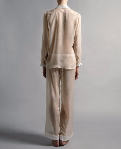 SHEER IVORY SILK CHIFFON TROUSERS
