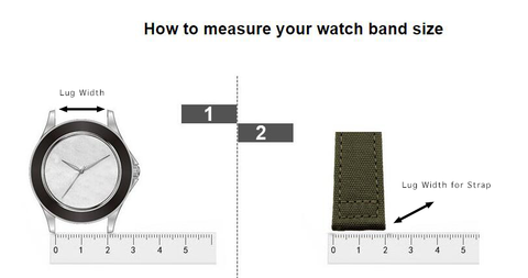 Sizing guide for measuring watch strap & band size to match different watches due to the different lug size of every watches.