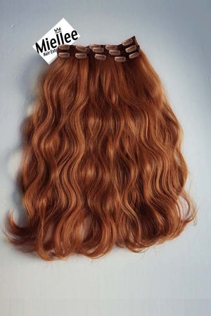 Amber Red Clip Ins - Beach Wave - Remy Human Hair