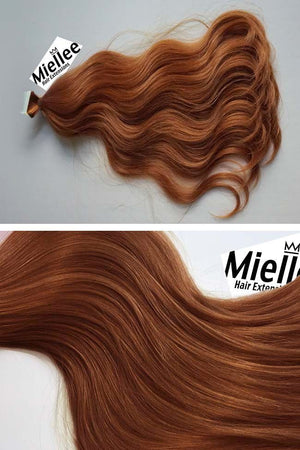 Amber Red Tape Ins - Beach Wave - Remy Human Hair