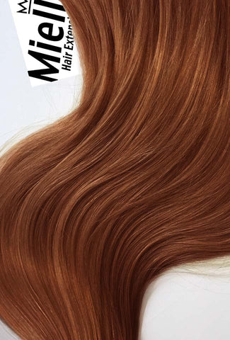 Amber Red Full Head Clip Ins | Beach Wave Remy Human Hair