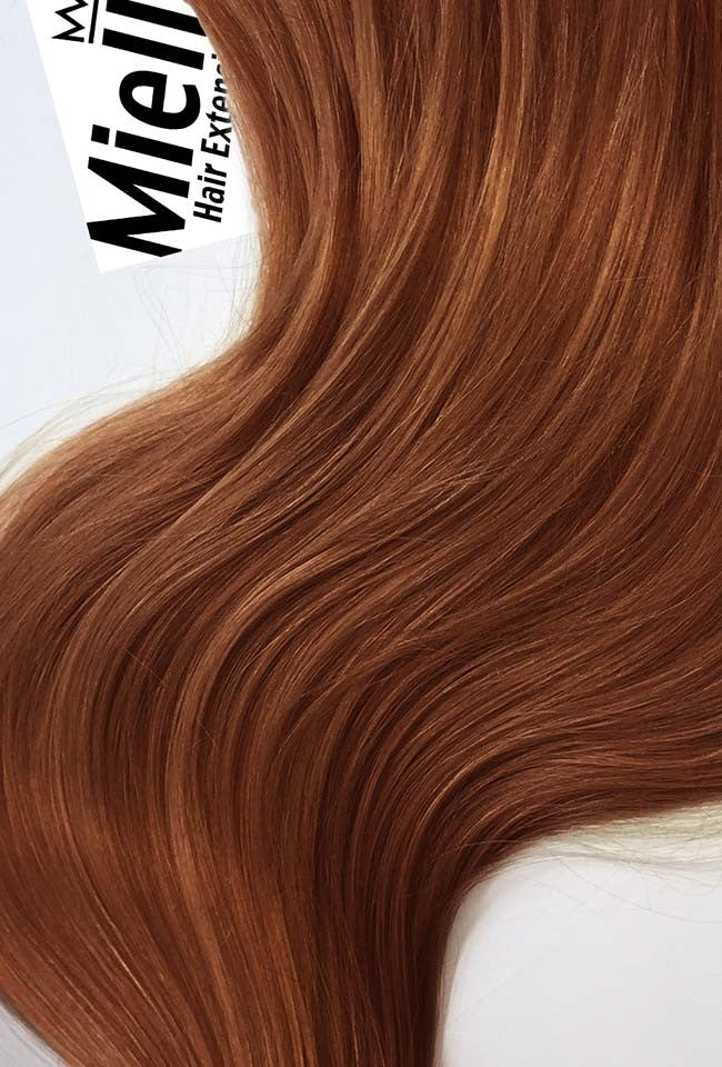 Amber Red Machine Tied Wefts - Straight Hair