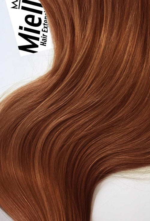 Amber Red Machine Tied Wefts - Wavy Hair
