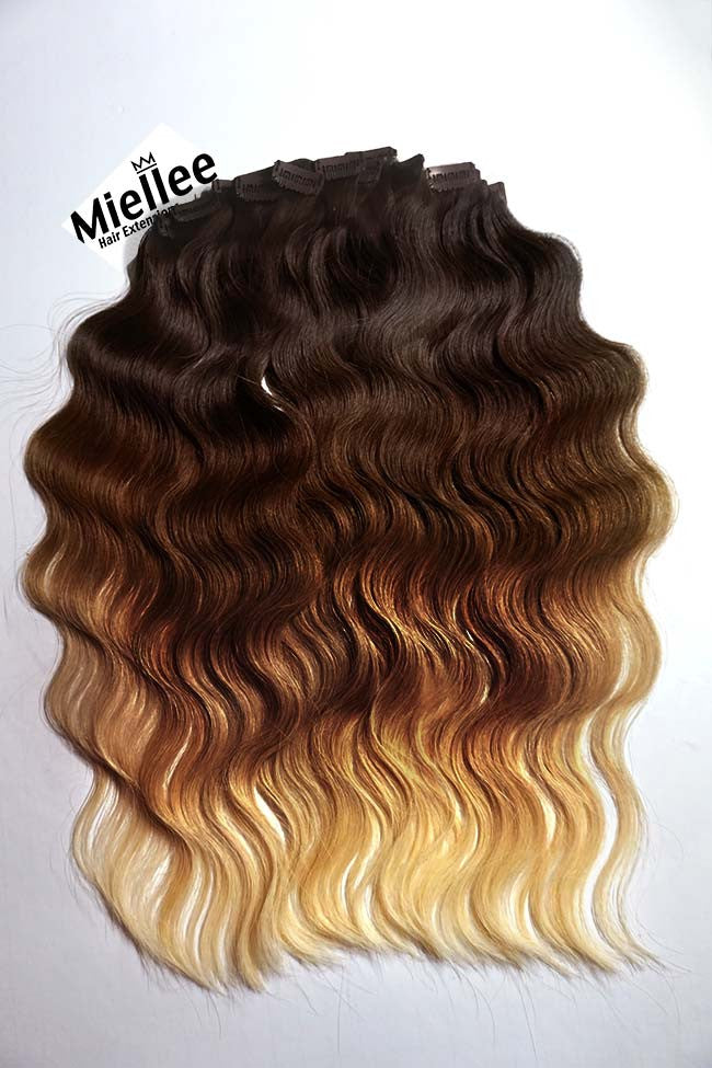 High Contrast Gold Ombre Full Head Clip Ins | Beach Wave Remy Human Hair