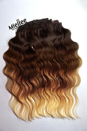 High Contrast Gold Ombre Clip Ins - Wavy Hair