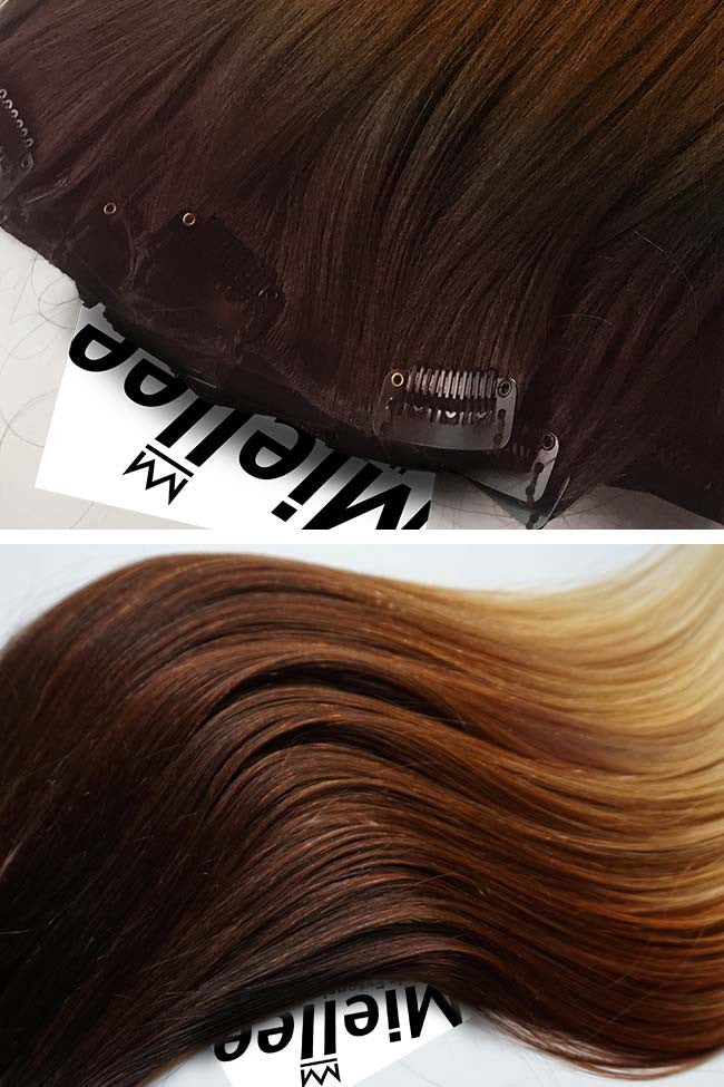 High Contrast Golden Ombre 8 Piece Clip Ins - Straight Hair