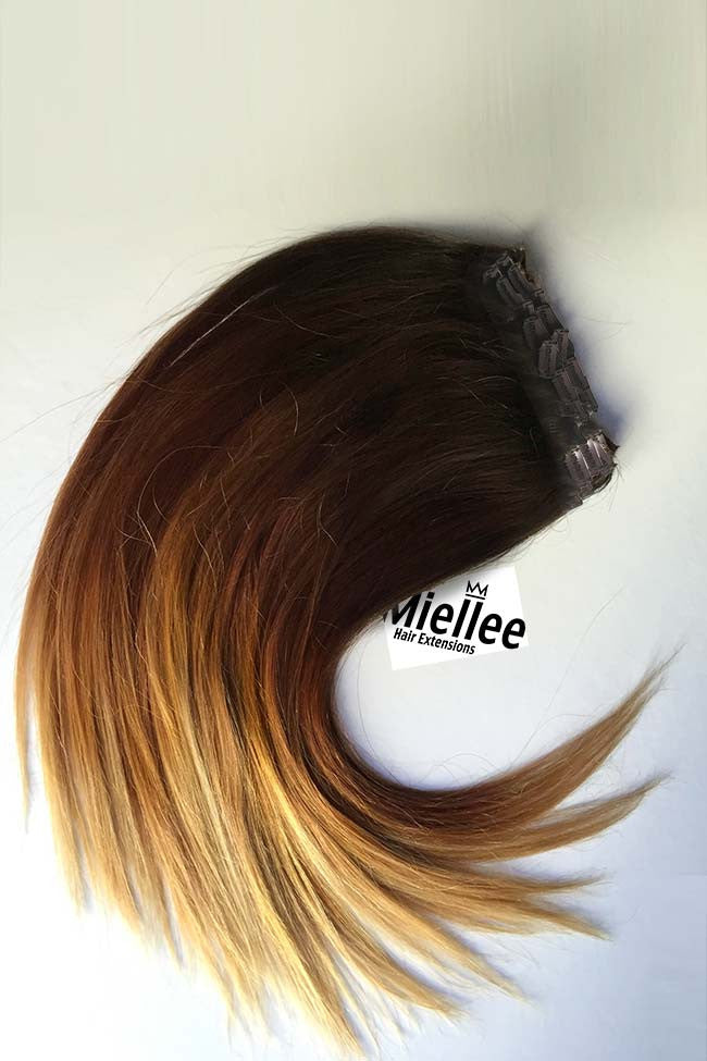 High Contrast Gold Ombre Full Head Clip Ins Silky Straight Remy Human Hair