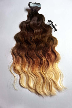 High Contrast Gold Ombre Tape Ins - Beach Wave - Remy Human Hair