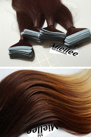 High Contrast Gold Ombre Tape Ins - Straight Hair