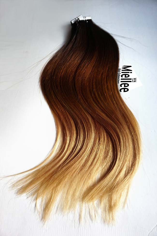 High Contrast Gold Ombre Tape Ins - Silky Straight - Remy Human Hair