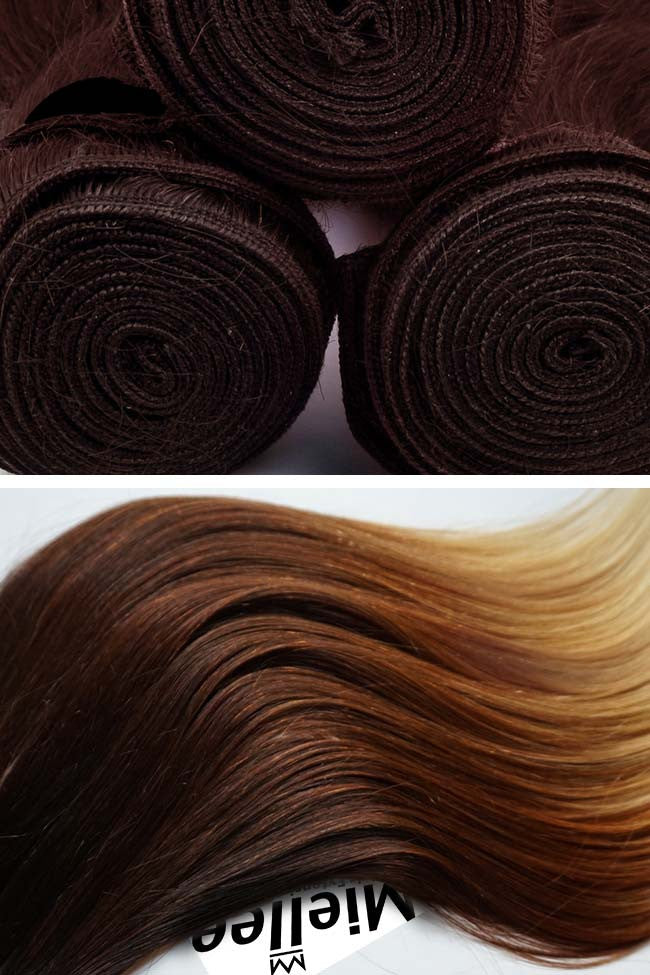 High Contrast Gold Ombre Weave Extensions | Beach Wave Remy Human Hair