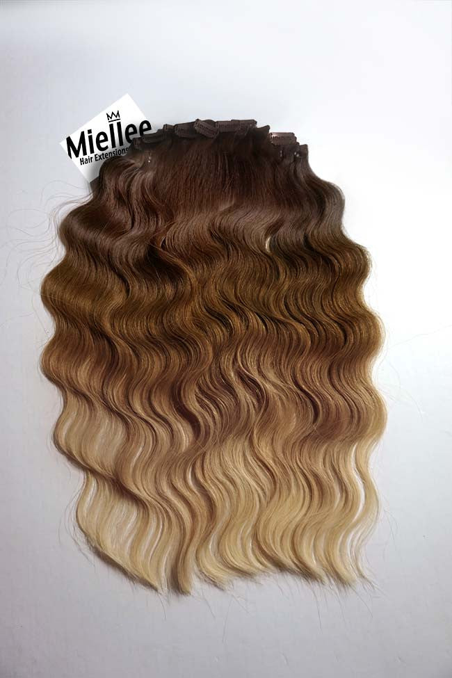 Light Golden Brown Balayage Clip In Extensions Beach Wave Remy