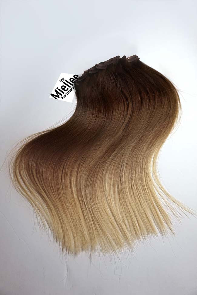 Light Golden Brown Balayage Clip In Extensions Silky Straight Remy