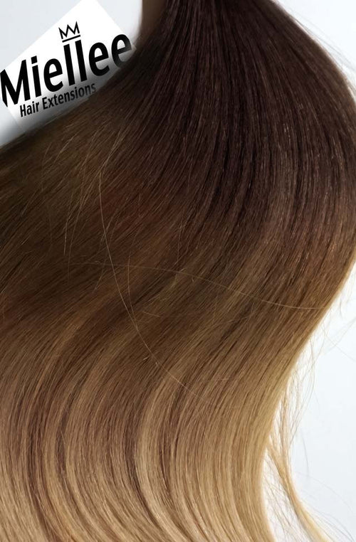 Light Golden Brown Balayage Machine Tied Wefts - Straight Hair