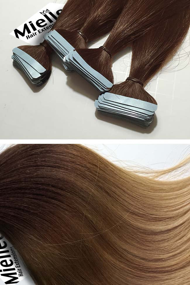 Light Golden Brown Balayage Seamless Tape Ins | Beach Wave Remy Human Hair