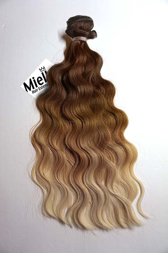 Light Golden Brown Balayage Weave Extensions Wavy Remy Human Hair