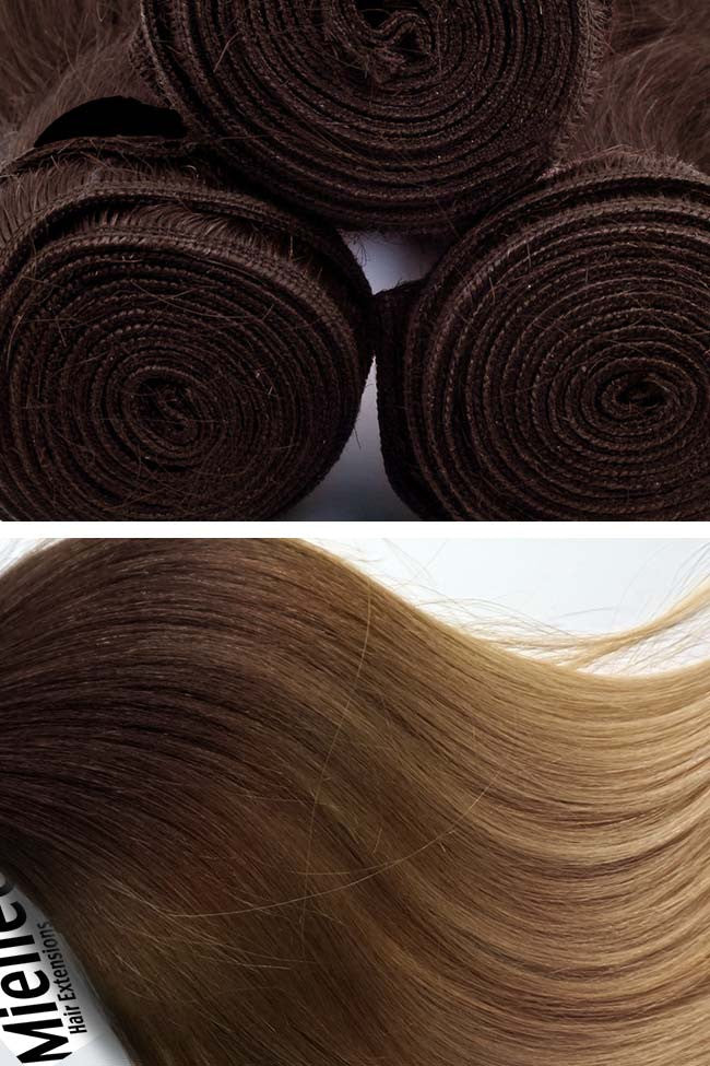 Light Golden Brown Balayage Weave Extensions | Silky Straight Remy Human Hair