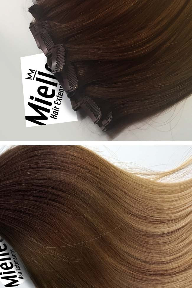 Light Golden Brown Balayage Full Head Clip Ins | Silky Straight Remy Human Hair