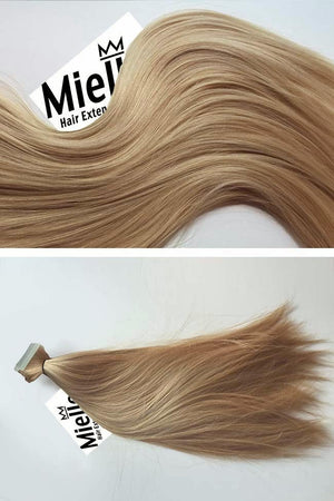 Butterscotch Blonde Tape Ins - Silky Straight - Remy Human Hair