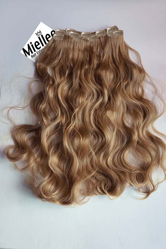 Clip In Extensions Caramel Blonde Beach Wave Miellee Hair