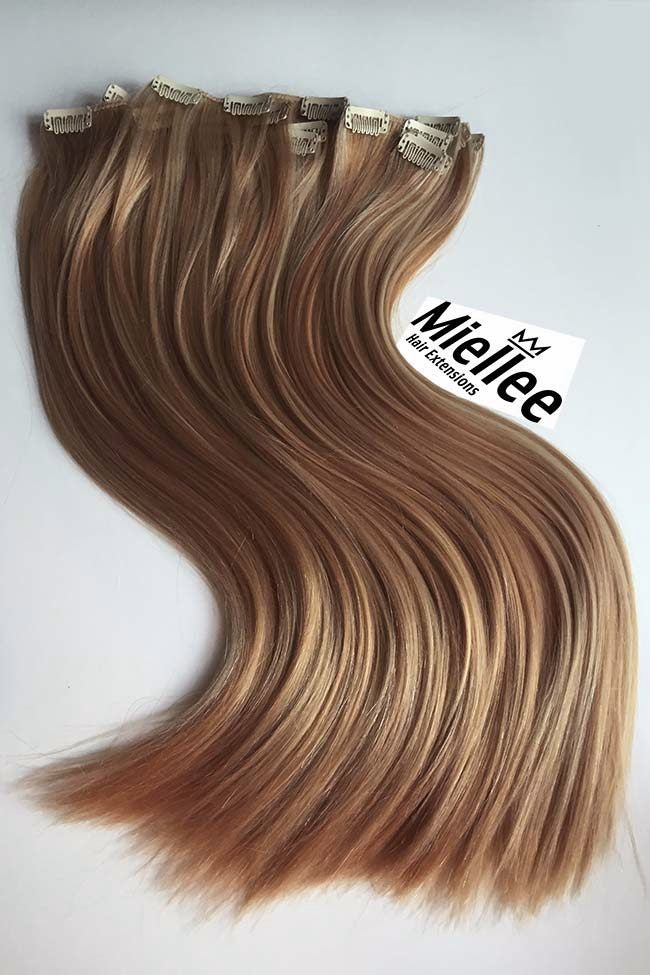 Clip In Extensions Caramel Blonde Silky Straight Miellee Hair
