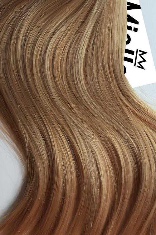 Caramel Blonde Seamless Tape Ins - Wavy Hair
