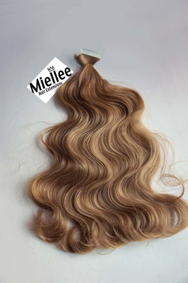 Skin Weft Tape In Extensions Caramel Blonde Beach Wave Miellee