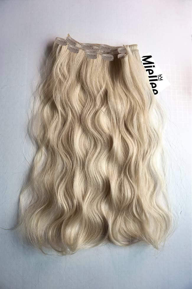 Clip In Hair Extensions Champagne Blonde Beach Wave Miellee