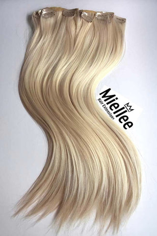 Medium golden champagne blonde hair extensions miellee hair champagne blonde full head clip ins silky straight remy human hair pmusecretfo Images