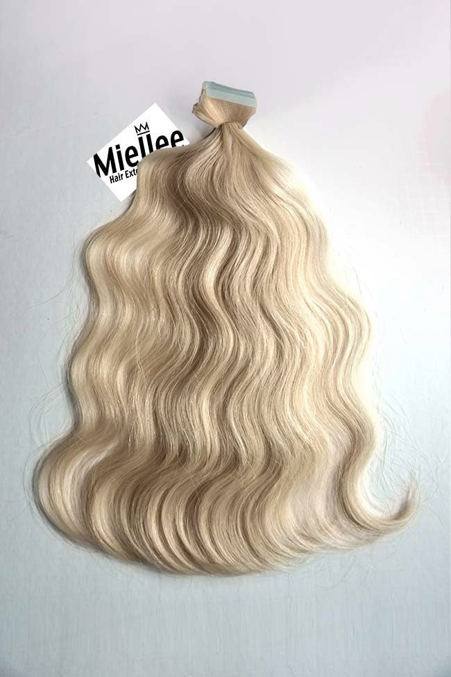 Champagne Blonde Tape Ins - Beach Wave - Remy Human Hair