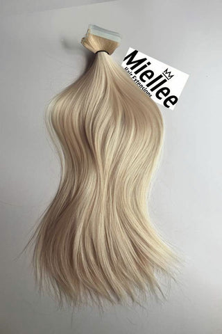 Medium golden champagne blonde hair extensions miellee hair champagne blonde seamless tape ins silky straight remy human hair pmusecretfo Images
